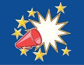 Megaphone,Announcement Message,Exploding,Star Shape,Message,Sound,Sports Symbols/Metaphors,Vector Cartoons,Teamwork,Sports And Fitness,Concepts And Ideas,Illustrations And Vector Art