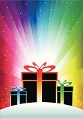Rainbow,Exploding,Gift,Box - Container,Gift Box,Christmas,Christmas Present,Abstract,Star Shape,Surprise,Birthday Present,Ribbon,Vector,Multi Colored,Birthdays,Valentine's Day,Holidays And Celebrations,Christmas,Snow,Group of Objects,Copy Space,Ilustration,Bow