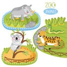 Wildlife,Tropical Rainforest,Unicorn,Snake,Nature,Multi Colored,Cute,Vector,Collection,Illustration,Animal