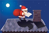 Roof,Santa Claus,Christmas,Letter,Night,Roof Tile,Full Moon,Red,Lifestyle,Holidays And Celebrations,Babies And Children,Gift,Families,Christmas,Holiday,Blue,Cheerful,Moon