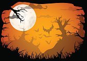 Copy Space,No People,Cartoon,Illustration,2015,Night,Forest,Halloween,Retro Styled,Tree,Vector,Yellow