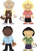 Doctor,Cartoon,Senior Adult,Healthcare And Medicine,Characters,Ethnic,Medical Occupation,Group Of People,Collection,Stethoscope,Male,Ilustration,Female,Isolated On White,Medium Group Of People,Small Group Of People,Vector