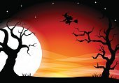 Copy Space,Evil,Celebration,Spooky,Mystery,Silhouette,Background,Banner,Full,Holiday - Event,Cartoon,Full,Moon,Moonlight,Illustration,Full Moon,Sky,Star - Space,Banner - Sign,October,2015,Autumn,Night,Horror,Backgrounds,Halloween,Star Shape,Witch,Tree,Vector,Dark,Black Color