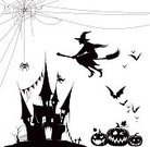 Horror,Castle,Back Lit,Flying,Halloween,Bat - Animal,Spider,Pumpkin,Silhouette,Witch,Illustration,Spooky,Vector,2015