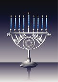 Hanukkah,Menorah,Judaism,Candle,Israel,Candlestick Holder,Religion,Flame,Art,Symbol,Cultures,Silver - Metal,Vector,Silver Colored,Spirituality,David - Biblical King,Blue,Decoration,Hanukiah,Illuminated,Lighting Equipment,Celebration,Holiday,Night,Winter,Equipment,Design,Decor,Holidays And Celebrations,Holiday Backgrounds,Star Shape,Chanukkiah,Ornate,Holiday Symbols,Household Objects/Equipment,Objects/Equipment,Ilustration,Ethnicity,Shiny