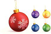 Christmas Ornament,Christmas,Green Color,Decoration,Snowflake,Purple,Sphere,Design Element,Yellow,Multi Colored,Bright,Blue,Elegance,Red,White Background,Brightly Lit,Vibrant Color,Glowing,Celebration