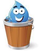 Bucket,Drop,Drinking Water,Cartoon,Environmental Conservation,Characters,Ilustration,Vector,Wood - Material,Smiling,Cheerful,Isolated On White,Happiness