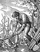 Woodcut,Farmer,Vineyard,Engraving,Old,French Culture,Image Created 16th Century,Ilustration,Working,Old-fashioned,Vintner,Agriculture,Engraved Image,Shovel,France,History,Men,Antique,Black And White,Europe,16th Century Style,One Person,Muscular Build,Hat,People,Food And Drink,Alcohol,Period Costume,Mature Men,Mid Adult Men,Only Men,Industry,Agriculture