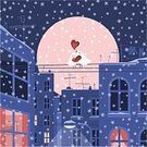 Christmas,Love,Winter,City,Valentine's Day - Holiday,Snow,Bird,Animal,Street,Urban Scene,House,Night,Heat - Temperature,Window,Dove - Bird,Vector,Building Exterior,Lighting Equipment,Pink Color,Home Interior,Romance,Ilustration,Built Structure,City Life,Moon,Snowflake,Residential Structure,Snowing,Cable,Urban Skyline,Blue,Dating,Anniversary,Television Aerial,Flirting,Affectionate,Cold - Termperature,Winter,Birds,Architecture And Buildings,Public Building,Arm Around,Animals And Pets,Nature