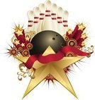 Bowling,Bowling Ball,Bowling Pin,Sport,Award,Vector,Retro Revival,Exploding,Star Shape,Celebration,Ribbon,Isolated On White,Design Element