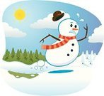 Snowman,Melting,Running,Snow,Sun,Springtime,Cartoon,Heat - Temperature,Winter,Christmas,Escape,Scarf,Forest,Sprinting,Pine,Tree,Twig,Cold - Termperature,Season,Cloud - Sky,Urgency,Blue,White,Hat,Illustrations And Vector Art,Concepts And Ideas,Nature,Carrot,Landscape,Speed,Feelings And Emotions,Winter,Sunbeam,Vector Cartoons,Nature
