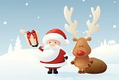 Christmas,Santa Claus,Reindeer,Rudolph The Red-nosed Reindeer,Snow,Winter,Non-Urban Scene,Tree,Gift,Christmas Present,Teamwork,Fir Tree,Red,Antler,Gift Box,Celebration,Animal Nose,Sack,Red-Nosed,Bow,Bow,Ribbon,Snowing,Holding,Ribbon,Shiny,Horned,Standing,Snow Scenics
