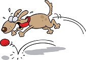 Bouncing,Ball,Dog,Chasing,Jumping,Cheerful,Animal Tongue,Excitement,Ecstatic,Spotted,Vector Cartoons,Illustrations And Vector Art