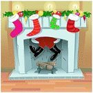 Fireplace,Christmas,Santa Claus,Christmas Stocking,Cartoon,Christmas Decoration,Home Interior,Ilustration,Vector,Candle,Decoration,Residential Structure,Holiday,Winter,House,Delivering,Night,Decor,Distraught,Cultures,Overweight,Humor,Effort