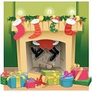 Fireplace,Christmas,Santa Claus,Christmas Stocking,Cartoon,Domestic Room,Vector,Home Interior,Gift,Christmas Decoration,Ilustration,Sketch,Decoration,Bow,Ribbon,Cultures,Distraught,Winter,Holiday,Overweight,Humor,Night,Delivering,Christmas Present,Effort