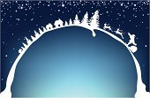 Christmas,Christmas Tree,Santa Claus,Deer,Snow,Winter,Backgrounds,Greeting,Season,Holiday,Holidays And Celebrations,Illustrations And Vector Art,Holiday Backgrounds,December,Christmas,Vector Backgrounds,Backdrop,Celebration,Dark,Blue,Design