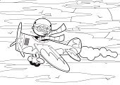 Coloring,Airplane,Pilot,Cartoon,Vector,Outline,Teenage Boys,Cute,template,Sun,Line Art,Black And White,Ilustration,Flying,Cool,Clip Art,Characters,Funky,Sports Helmet,Smoke - Physical Structure,Wing,Flying Goggles,Propeller,Illustrations And Vector Art,Cloud - Sky,Sky,Vector Cartoons,Wheel,Mid-Air,Smiling,Modern,People