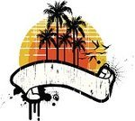 Beach,Grunge,Banner,Summer,Palm Tree,Retro Revival,Sun,Vector,Tropical Climate,Design,Silhouette,Drop,Ink,Seagull,Bird,White Background,Red,Sports And Fitness,Summer,Water,Nature,Yellow,Vector Icons,Texture Effect,Illustrations And Vector Art,Copy Space