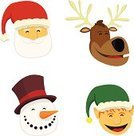 Snowman,Elf,Santa Claus,Reindeer,Christmas,Hat,Cartoon,Vector,Humor,Characters,Laughing,Ilustration,Winter,Smiling,Babies And Children,Holidays And Celebrations,Vector Cartoons,Lifestyle,Christmas,Digitally Generated Image,White Background,Cheering,Happiness,Illustrations And Vector Art