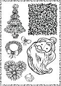 Christmas,Decoration,Design Element,Decorating,Pine Tree,Vector,Design,Bow,Christmas Decoration,Santa Claus,Textured Effect,Flower,Textured,Ribbon,Pattern,Knick Knack,Illustrations And Vector Art,Holidays And Celebrations,Christmas,Vector Ornaments,Part Of,Isolated Objects,Exhilaration,Frame,Ornate,Smiling,Beauty,Joy,Happiness