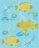 Fish,Dragonfly,Seamless,Water Lily,Pattern,Carp,Underwater,Water,Animal,Vector,Ilustration,Stamen,Floral Pattern,Flower,Leaf,Wallpaper Pattern,Beauty In Nature,Petal,Flowers,Nature Backgrounds,Vector Florals,Nature,Green Color,Ornate,Blue,Animal Scale,Illustrations And Vector Art