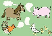 Pony,Duck,Pig,Gossip,Cockerel,Thought Bubble,Cartoon,Speech Bubble,Duckling,Talking,Communication,Animals And Pets,Communication,Ilustration,Concepts And Ideas