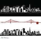 San Francisco County,Golden Gate Bridge,California,Vector,Cityscape,City Life,Built Structure,San Francisco Bay Area,Building Exterior,Urban Scene,Grunge,Ilustration,Vector Icons,Vector Backgrounds,Architecture And Buildings,Illustrations And Vector Art