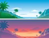 Waterfall,Hawaii Islands,Tropical Climate,Beach,Mountain,Landscape,South Pacific Ocean,Lagoon,Palm Tree,Sea,Coastline,Pacific Ocean,Tahiti,Water's Edge,Romance,Dreamlike,Coconut Palm Tree,Sand,Nature,Nature Backgrounds,Sky,Cloud - Sky,Travel Locations,Web Banner,Beaches,Travel Backgrounds,vector illustration