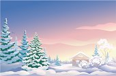 Winter,Christmas,Snow,Landscape,Tree,Non-Urban Scene,House,Cabin,Forest,Sunrise - Dawn,Vector,Fir Tree,Ilustration,Home Interior,Pine Tree,Snowdrift,Scenics,Backgrounds,Woodland,Outdoors,Morning,Season,North,Log Cabin,Evergreen Tree,Drawing - Art Product,Environment,Cold - Termperature,Clip Art,Weather,January,Plant,Painted Image,Horizontal,Coniferous Tree,December,No People,Frost,Beauty In Nature,Nature,Climate,Candid,Christmas,Copy Space,Landscapes,Sky,Nature,Color Image,Illustrations And Vector Art,Holidays And Celebrations