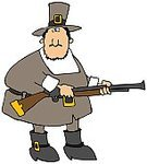 Pilgrim,Cartoon,Thanksgiving,blunderbuss,Gun,Hunting,Rifle,Ilustration,Men,People,Thanksgiving,Holidays And Celebrations,Male,Holiday,American Culture