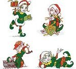 Elf,Christmas,Holiday,Hammer,Miniature Train,Cultures,Vector,Ilustration,Gift,Santa's Helpers,Traditional Clothing,Ribbon