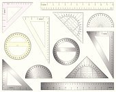 Ruler,Protractor,Set Square,Measuring,Mathematics,Geometry,Work Tool,Circle,Triangle,Centimeter,Vector,Angle,Scale,Inch,Shape,Design Element,Technology,Metal,Plastic,Accuracy,Degree,Straight,Set,Equipment,Computer Graphic,Aluminum,Length,Ilustration,Collection,Objects/Equipment,Illustrations And Vector Art