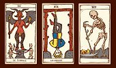 Tarot Cards,Gypsy,Devil,Death,Fortune Telling,Grim Reaper,Human Skeleton,Friday the 13th,Dead Person,Luck,Hanged Man,Spooky,Mystery,Adversity,Forecasting,Halloween,Vector Icons,Religion,Concepts And Ideas,Illustrations And Vector Art,Holidays And Celebrations