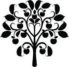 Apple Tree,Apple - Fruit,Tree,Silhouette,Black And White,Ilustration,Ornate,Branch,Scroll Shape,Black Color,Growth,Leaf,Nature,Foliate Pattern,Curled Up,Natural Pattern,Plant,Beauty In Nature,Floral Pattern,Design Element