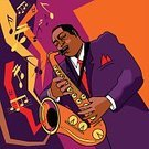 Jazz,Saxophone,Blues,Art,Saxophonist,African Descent,Music,Musician,American Culture,Painted Image,Ilustration,Brass Band,Men,Vector,Musical Instrument,New,Design,Blowing,One Person,Performer,Computer Graphic,Orchestral,Aura,Air,Wind,Listening,Creativity,Sound,Music,Illustrations And Vector Art,chromatic,Arts And Entertainment