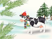 Cow,Snow,Domestic Cattle,Winter,Christmas Tree,Forest,Cap,Mottled,Spotted,Blob,motley,New Year's Day,Vector Cartoons,Farm Animals,хвоя,New Year's,Holidays And Celebrations,Illustrations And Vector Art,Animals And Pets