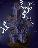 House,haunted house,Spooky,Lightning,Ilustration,Storm,Horror,Vector,Halloween,Residential Structure,Night,Fantasy,lightning strike,Holidays And Celebrations,Halloween,Illustrations And Vector Art,Weather,Building Exterior,Copy Space,Vertical