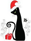 Domestic Cat,Christmas,Black Color,Silhouette,Animal,Kitten,Cute,Holiday,Vector,Ilustration,Hat,Santa Hat,Christmas Decoration,Gift,Gift Box,Floral Pattern,Decoration,One Animal,Season,Illustrations And Vector Art,Animals And Pets,Vector Cartoons,Cheerful,Christmas,White Background,Holidays And Celebrations,Cats