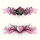 Tattoo,Heart Shape,Rose - Flower,Wing,Valentine's Day - Holiday,Flower,Design,Pink Color,Single Flower,Grunge,Thorn,Graffiti,Black Color,Vector,1980s Style,Scroll Shape,Design Element,Scroll,Drawing - Art Product,Sketch,Splattered,Spray,Distressed,Ilustration,Textured Effect,Hand-drawn,Floral Element,Valentine's Day,Holidays And Celebrations,Illustrations And Vector Art