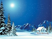 Christmas,Winter,Snow,Non-Urban Scene,Landscape,Mountain,Night,House,Tree,Mountain Range,Cottage,Vector,Backgrounds,Star - Space,Sky,Moon,Blue,White,Outdoors,Pine Tree,Mountain Peak,Star Shape,Snowdrift,Icicle,Spirituality,Moonlight,Fence,Clip Art,Ilustration,Nature,Tranquil Scene,christmas night,Luminosity,Season,Holidays And Celebrations,Arts And Entertainment,Arts Backgrounds,Vector Backgrounds,Holiday Backgrounds,Horizon Over Land,Illustrations And Vector Art