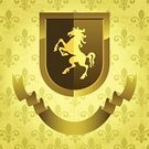 Horse,Shield,Fleur De Lys,Coat Of Arms,Medieval,Pattern,Retro Revival,Symbol,Grunge,Old,Gothic Style,Sepia Toned,Ancient,Scroll Shape,Illustrations And Vector Art