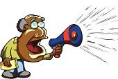 Megaphone,audible,Men,Senior Adult,Shouting,Screaming,Bullhorn,Ecstatic,Public Speaker,Announcement Message,Politics,Directing,Speaker,Bizarre,Holding,Eyeglasses,Green Color,Shoe,Actions,Teaching,Blue,People,Excitement,Singer,Vector Cartoons,Balding,Standing,Red,Illustrations And Vector Art,Mouth Open