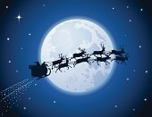 Santa Claus,Sleigh,Christmas,Reindeer,Moon,Flying,Silhouette,Night,Vector,Star - Space,Delivering,Gift,Moonlight,Back Lit,Holiday Symbols,Holiday Backgrounds,Christmas,Holidays And Celebrations