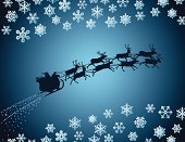 Santa Claus,Sleigh,Reindeer,Silhouette,Christmas,Flying,Delivering,Vector,Snow,Winter,Back Lit,Gift,Holiday,Holiday Symbols,Holiday Backgrounds,Christmas,Holidays And Celebrations
