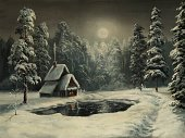 Christmas,Winter,Non-Urban Scene,Snow,Night,Landscape,Fairy Tale,Pond,Moon,Forest,Window,House,Snowing,Star - Space,Paintings,Tree,Holiday,Humor,Scenics,Road,Outdoors,Silence,Ice,Ilustration,Smoke - Physical Structure,Chimney,Art,Painted Image,Relaxation,Glacier,Frozen,Frost,Tranquil Scene,Nature,Fog,Reflection,Spruce Tree,Idyllic,Vacations,Snowdrift,Coniferous Tree,Reclining,White,No People,New Year's,Clean,Christmas,Dark,Nature,Holidays And Celebrations,Winter,Slush
