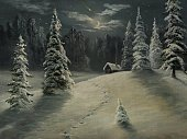 Christmas,Snow,Winter,Night,Non-Urban Scene,Tree,Forest,Landscape,Window,Holiday,Scenics,House,Humor,Star - Space,Paintings,Fairy Tale,Pine,Snowing,Outdoors,Road,Footprint,Hill,Dark,Moon,Pine Tree,Nature,Ilustration,No People,Chimney,White,Smoke - Physical Structure,Painted Image,Contemplation,Ice,Frost,Vacations,Snowdrift,Silence,Coniferous Tree,Tranquil Scene,Beauty In Nature,Idyllic,Clean,Resting,Spruce Tree,Art,Reclining,Frozen,Holidays And Celebrations,Winter,Visual Art,Arts And Entertainment,Relaxation,Christmas,Horizontal,Slush,Nature