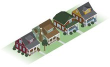 Isometric,House,Community,Residential District,Bungalow,Residential Structure,In A Row,Homes,Architecture Backgrounds,Architectural Detail,Architecture And Buildings