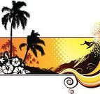 Surfing,Beach,Surf,Palm Tree,Wave,Surfboard,Hibiscus,Sunset,Hawaiian Culture,Sea,Tropical Climate,Flower,Sport,Idyllic,Tropical Flower,Vector,Vacations,Adventure,Freedom,Fun,Outdoors,Recreational Pursuit,Extreme Sports,Nature,Funky,Ilustration,Youth Culture,Curled Up