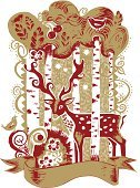 Christmas,Deer,Bird,Forest,Animal,Winter,Tree,Reindeer,Pattern,Drawing - Art Product,Single Flower,Vector,Nature,Ilustration,Flower,Night,Holiday,Antler,Decoration,Design,Creativity,Celebration,Cultures,Red,Spotted,Sky,Gold Colored,Event,Season,hand drawn,Ribbon,Christmas,Holidays And Celebrations,Illustrations And Vector Art,Animals And Pets