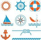 Rope,Nautical Vessel,Anchor,Sailboat,Sailing,Fish,Symbol,Life Belt,Sea,Compass,Wave,Computer Icon,Design Element,Icon Set,Set,Steering Wheel,Sun,Vacations,Journey,Travel,Navigational Equipment